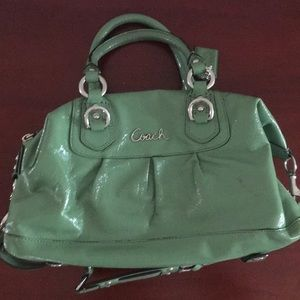 Green patent leather AUTHENTIC coach purse